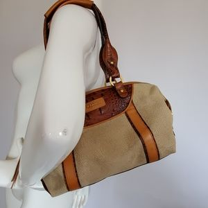 BRAHMIN canvas and leather shoulder bag
